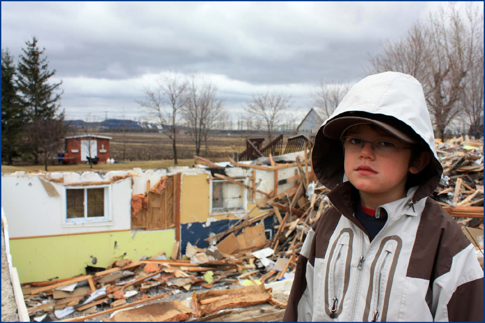 child see home destroyed